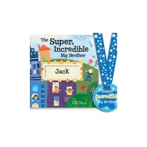 The Super, Incredible Big Brother Book & Medal Personalized Story Book