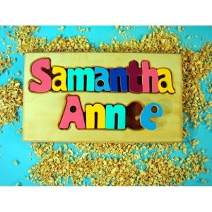name puzzle board for baby room decor