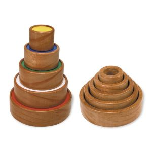 wooden circle tower toy