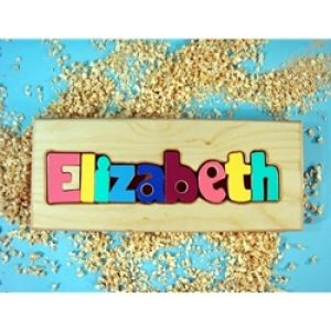 Puzzle name board for baby room decor