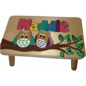 Owl Themed Name Puzzle Step Stool